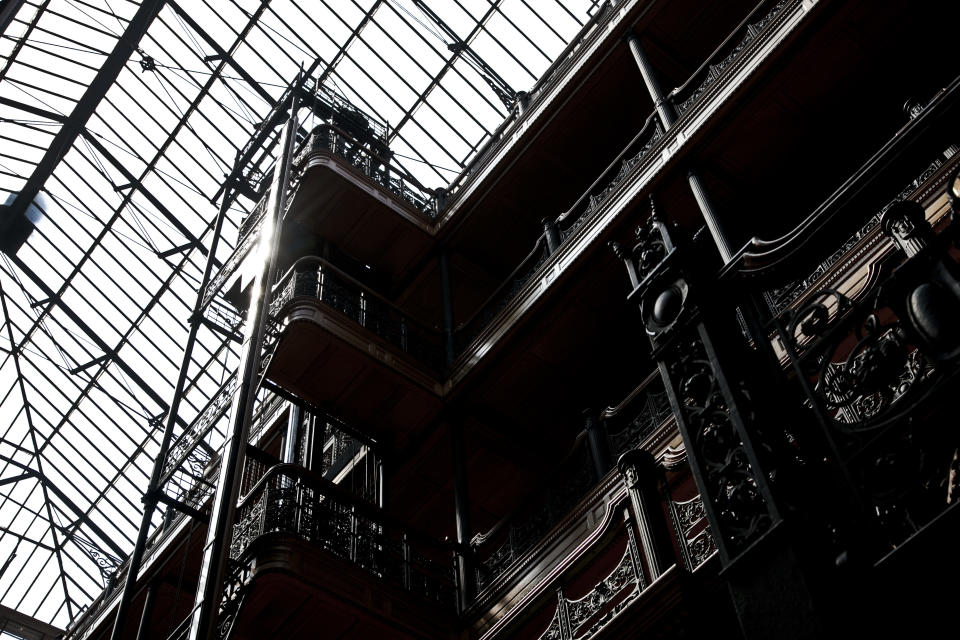"Inside the Bradbury building. The historic building was featured in the film ""Blade Runner,"" along with several other films. (Photo by Ted Soqui/Corbis via Getty Images)"