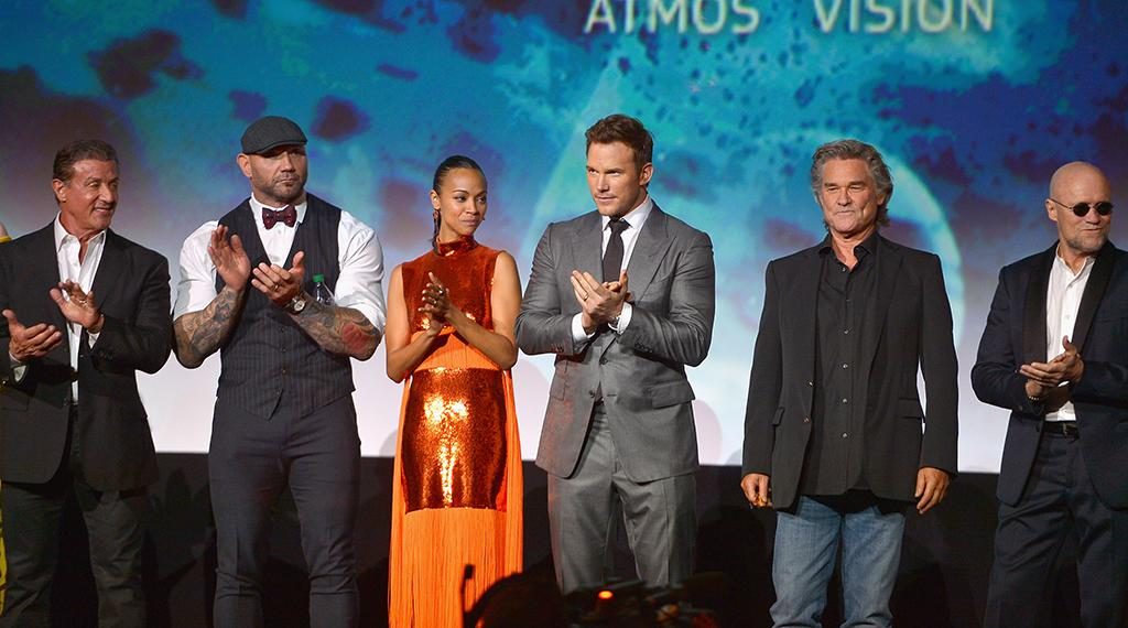 "<p>(From left) Sylvester Stallone, Dave Bautista, Zoe Saldana, Chris Pratt, Kurt Russell, and Michael Rooker at the world premiere of Marvel's' '""Guardians of the Galaxy Vol. 2' at the Dolby Theatre in Hollywood on April 19, 2017 (Photo: Getty Images for Disney) </p>"