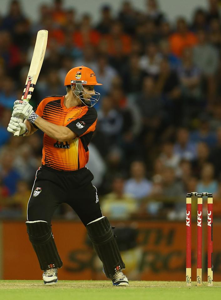 PERTH, AUSTRALIA - JANUARY 16: Shaun Marsh of the Perth Scorchers bats during the Big Bash League semi-final match between the Perth Scorchers and the Melbourne Stars at the WACA on January 16, 2013 in Perth, Australia.  (Photo by Robert Cianflone/Getty Images)