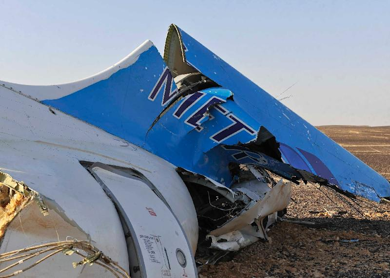 The wreckage of a crashed A321 Russian airliner in Wadi al-Zolomat in Hassana province, a mountainous area of Egypt's Sinai Peninsula (AFP Photo/Seliman Al-Oteifi)