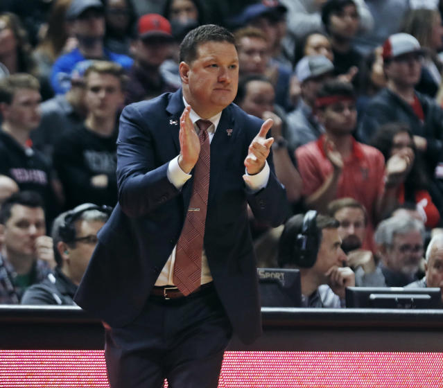 Texas Tech coach Chris Beard claps for his team during the first half of an NCAA college basketball game against Iowa State, Wednesday, Jan. 16, 2019, in Lubbock, Texas. (AP Photo/Brad Tollefson)