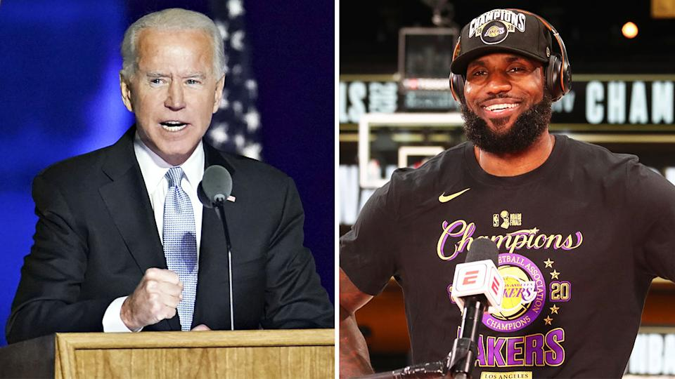 US President-elect Joe Biden (pictured left) speaking after his win and NBA star LeBron James (pictured right) after winning the championship.