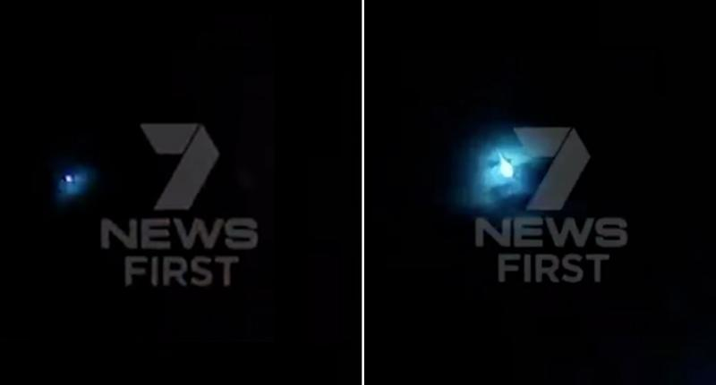 Residents in Perth reported hearing a loud bang before the light (pictured left and right), possibly a meteor, streaked through the darkness around 7.40pm on Monday
