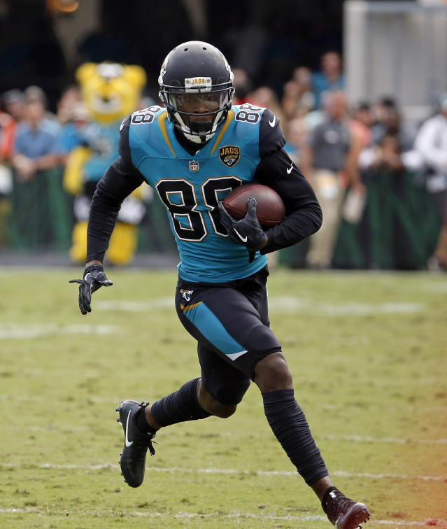 Jacksonville Jaguars' Allen Hurns (88) runs after a reception against the Cincinnati Bengals during the first half of an NFL football game, Sunday, Nov. 5, 2017, in Jacksonville, Fla. (AP Photo/Stephen B. Morton)