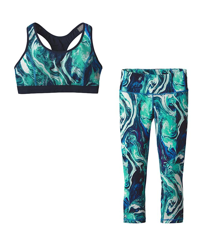 "<p>Women's Fair Trade Centered Bra, $49, <a rel=""nofollow"" href=""http://www.patagonia.com/product/womens-centered-sports-bra/32065.html?dwvar_32065_color=RMAB&cgid=womens-activewear-yoga"">patagonia.com</a><br />Women's Fair Trade Centered Crops, $69, <a rel=""nofollow"" href=""http://www.patagonia.com/product/womens-centered-yoga-crops-20-half-inch/21915.html?dwvar_21915_color=RMAB&cgid=womens-activewear-yoga"">patagonia.com</a> </p>"
