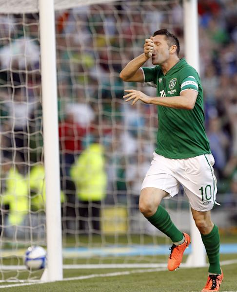 Republic of Ireland's Robbie Keane gestures, after scoring a goal against the Faroe Islands during their World Cup 2014 Qualifying Group C match at the Aviva stadium, Dublin, Ireland, Friday, June 7, 2013. (AP Photo/Peter Morrison)