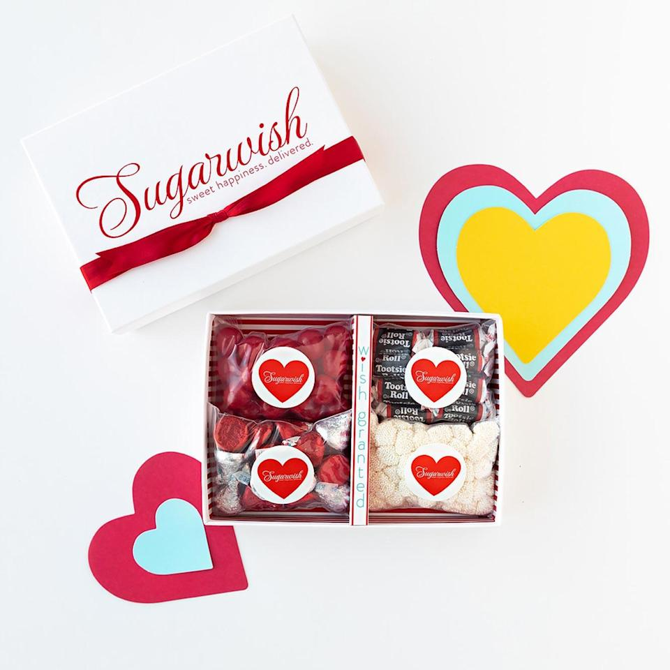 """<p>We love the unique spin <a href=""""https://sugarwish.com/us/choose-a-type"""" rel=""""nofollow noopener"""" target=""""_blank"""" data-ylk=""""slk:Sugarwish"""" class=""""link rapid-noclick-resp"""">Sugarwish</a> has put on sending treats to your sweet. You order the gift and select the delivery method, they get alerted by all sorts of adorable means (Cupid Grams, Text-A-Sugarwish, etc.) and get to pick a box full of their favorite goodies shipped right to their front door. How sweet is that?</p> <p><strong>$19.98 and up, <a href=""""https://sugarwish.com/us/choose-a-type"""" rel=""""nofollow noopener"""" target=""""_blank"""" data-ylk=""""slk:sugarwish.com"""" class=""""link rapid-noclick-resp"""">sugarwish.com</a></strong></p> <p><strong>*Includes shipping</strong></p>"""