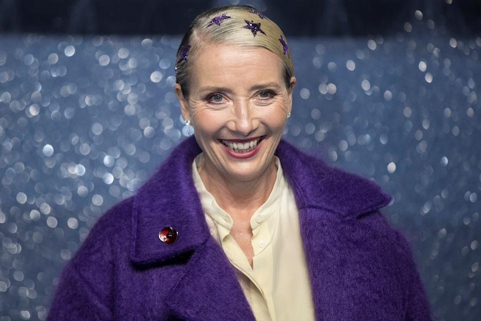 "Actor Emma Thompson poses as she arrives for the U.K. premiere of ""Last Christmas"" in London, Britain, November 11, 2019. REUTERS/Simon Dawson"