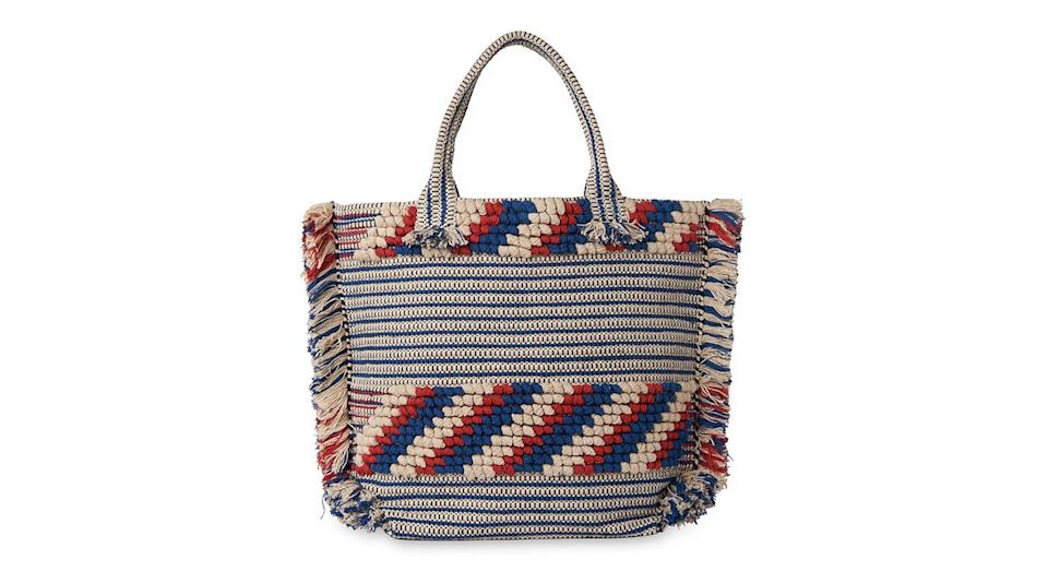 """<p>Dreaming of warmer climates? We'll be packing this woven wonder in our suitcases come summer. Team with a crisp sun dress and raffia slip-ones for added style points. <em><a href=""""http://www.whistles.com/women/bags/manzoni-woven-fringe-tote-27070.html?cgid=Bags_WW&dwvar_manzoni-woven-fringe-tote-27070_color=Blue%2FMulti#sz=60&start=0"""" rel=""""nofollow noopener"""" target=""""_blank"""" data-ylk=""""slk:Whistles"""" class=""""link rapid-noclick-resp"""">Whistles</a>, £89</em> </p>"""