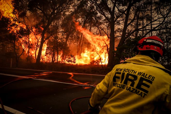 SYDNEY, AUSTRALIA - DECEMBER 19: Fire and Rescue personal run from flames as a bushfire burns trees along a road near homes on the outskirts of the town of Bilpin on December 19, 2019 in Sydney, Australia.   (Photo by David Gray/Getty Images)