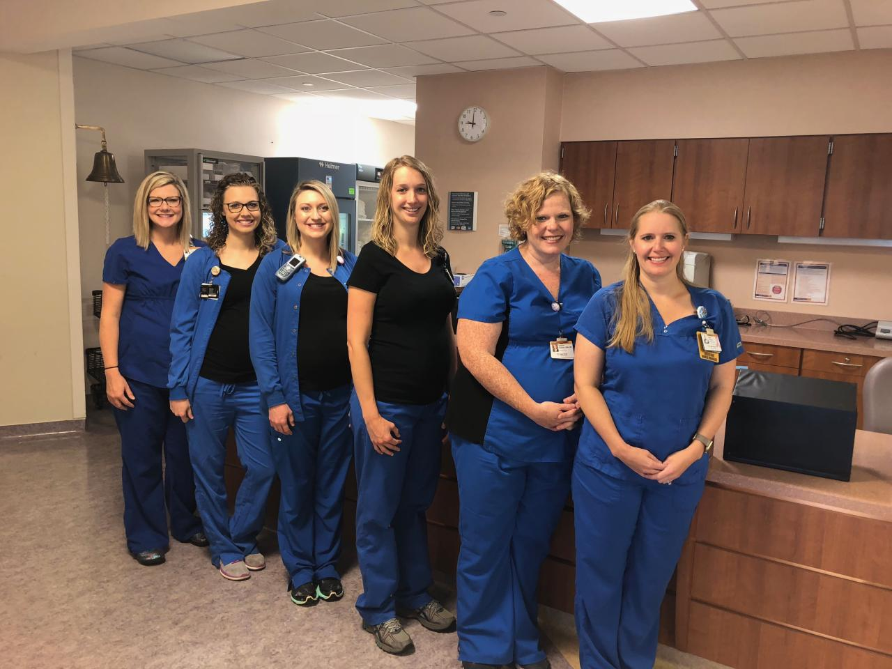 <p>Nina Day, Bethany Stringer, Emily Johnson, Nikki Huth, Sabrina Hudson, and Katie Carlton (Photo: Wake Forest Baptist Medical Center) </p>