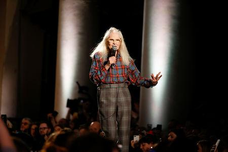 Designer Vivienne Westwood on stage following her catwalk show at London Fashion Week Women's A/W19 in London, Britain February 17,  2019. REUTERS/Henry Nicholls