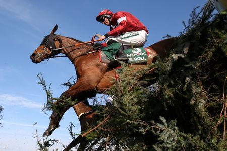 Horse Racing - Grand National Festival - Aintree Racecourse, Liverpool, Britain - April 6, 2019 Tiger Roll ridden by Davy Russell before winning the 5.15 Randox Health Grand National Handicap Chase Action Images via Reuters/Jason Cairnduff