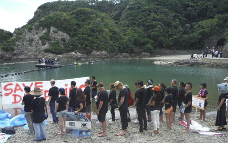 """In this Monday, Sept. 1, 2013 photo released by Dolphin Project, former Guns N' Roses drummer Matt Sorum, center right with a Panama hat, and Ric O'Barry, center left with a baseball cap, join Japanese anti-dolphin hunt activists standing together on a beach in protest with a banner reading: """"Save Dolphins"""" in Taiji, central Japan. Sorum was in the remote Japanese fishing village Monday to protest against its annual dolphin hunt. Sorum, who now leads his own group, is the latest celebrity to join the increasingly global campaign to stop the dolphin kill in Taiji, a quaint fishing village made famous by O'Barry's Academy Award-winning 2009 film about the hunt called """"The Cove."""" (AP Photo/Dolphin Project)"""