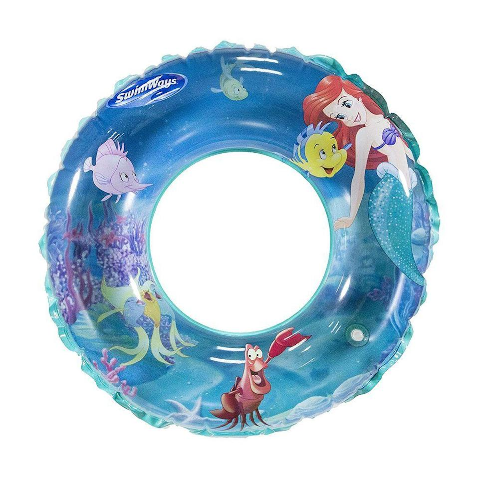 """<p><strong>SwimWays</strong></p><p>amazon.com</p><p><a href=""""https://www.amazon.com/dp/B07167KCXQ?tag=syn-yahoo-20&ascsubtag=%5Bartid%7C2089.g.36560252%5Bsrc%7Cyahoo-us"""" rel=""""nofollow noopener"""" target=""""_blank"""" data-ylk=""""slk:Shop Now"""" class=""""link rapid-noclick-resp"""">Shop Now</a></p><p>What could be more appropriate than a pool tube inspired by <em>The Little Mermaid</em>? Your little one will love the 3D graphics showing Flounder, Sebastian, and other characters from the movie.</p>"""