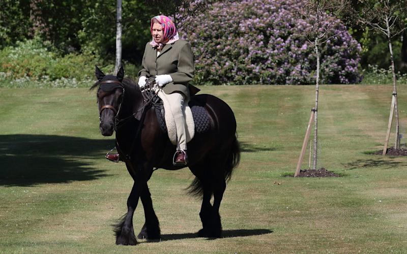 Over the weekend, the Queen was pictured riding her pony, Balmoral Fern at Windsor Castle - Steve Parsons/PA