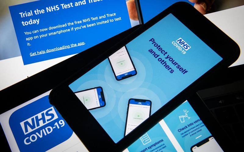 "The official NHS Covid-19 ""Test and Trace"" contact tracing app  - Getty"