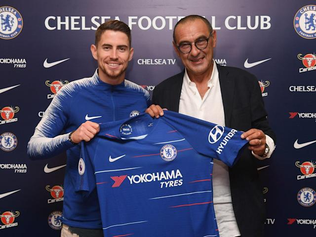 Jorginho with Chelsea manager Maurizio Sarri after signing a five-year contract