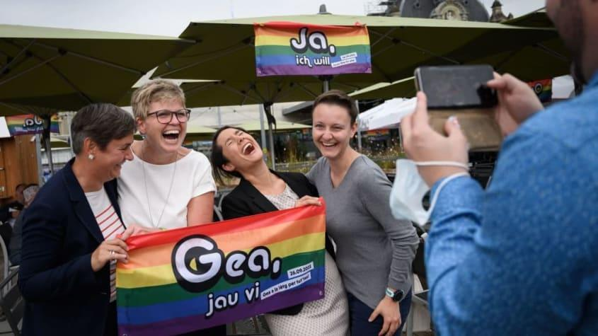 Supporters of same-sex marriage celebrate in Switzerland.