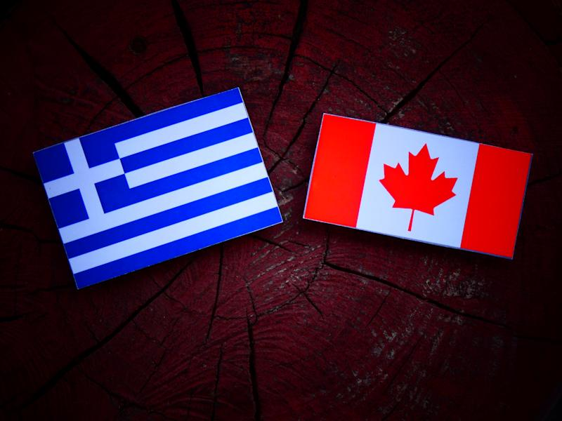 Greek flag with Canadian flag