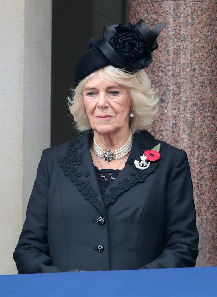 LONDON, ENGLAND - NOVEMBER 08: Camilla, Duchess of Cornwall during the National Service of Remembrance at The Cenotaph on November 08, 2020 in London, England. Remembrance Sunday services are still able to go ahead despite the covid-19 measures in place across the various nations of the UK. Each country has issued guidelines to ensure the safety of those taking part. (Photo by Chris Jackson - WPA Pool/Getty Images)