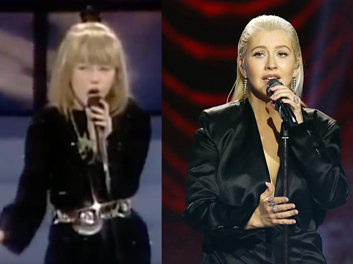 """Christina Aguilera on """"Star Search"""" in 1989, and performing at the 2017 American Music Awards."""