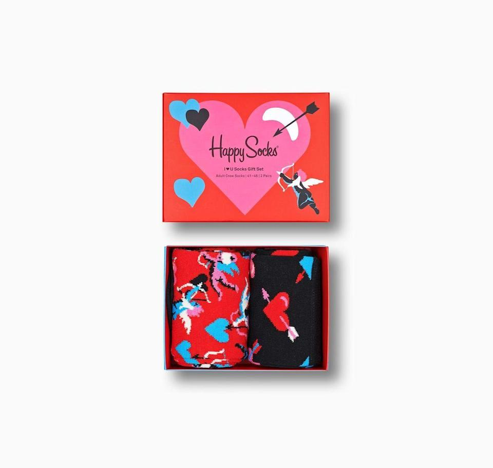 """<p>happysocks.com</p><p><strong>$28.00</strong></p><p><a href=""""https://go.redirectingat.com?id=74968X1596630&url=https%3A%2F%2Fwww.happysocks.com%2Fus%2F2-pack-i-love-you-socks-gift-set-red.html&sref=https%3A%2F%2Fwww.redbookmag.com%2Flife%2Fg35374113%2Fvalentines-day-gifts-for-anyone%2F"""" rel=""""nofollow noopener"""" target=""""_blank"""" data-ylk=""""slk:Shop Now"""" class=""""link rapid-noclick-resp"""">Shop Now</a></p><p>Socks may not scream romance, but couple this set with a card that promises a foot massage or something of that ilk and you're good to go. It's also worth nothing that just because these socks have hearts on them doesn't mean they can't be worn after Valentine's Day. </p>"""