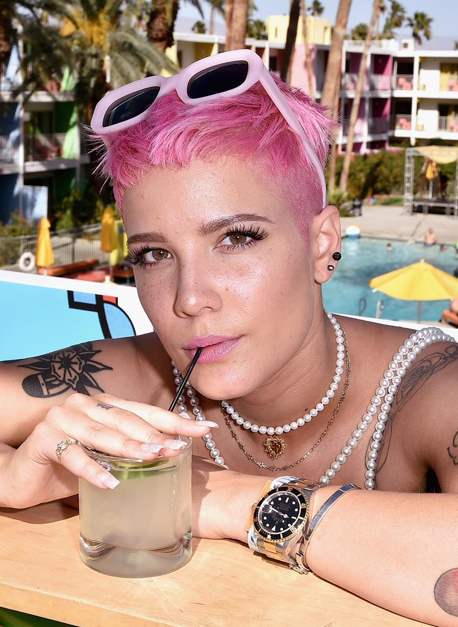 <p>We had to do a double take when we first saw this photo of Halsey in Palm Springs, Calif., as the singer bears a striking resemblance to Pink with her bubblegum-colored pixie. (Photo by David Crotty/WireImage) </p>