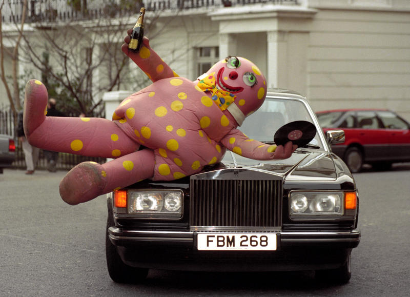 Mr Blobby, the character who shot to fame on Noel Edmonds' House Party on BBC Television, celebrates in London, after hearing that he may topple Meat Loaf off the No. 1 spot, when the Top 40 singles chart is released.