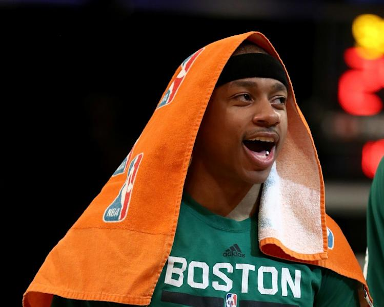 Isaiah Thomas of the Boston Celtics celebates a teammate's shot in the second half against the New York Knicks, at Madison Square Garden in New York, on April 2, 2017