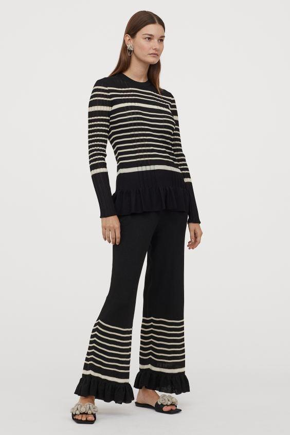 "<p>These <a href=""https://www.popsugar.com/buy/HampM-Rib-knit-Pants-560762?p_name=H%26amp%3BM%20Rib-knit%20Pants&retailer=www2.hm.com&pid=560762&price=80&evar1=fab%3Aus&evar9=47345374&evar98=https%3A%2F%2Fwww.popsugar.com%2Ffashion%2Fphoto-gallery%2F47345374%2Fimage%2F47345385%2FHM-Rib-knit-Pants-Fine-knit-Top&list1=shopping%2Ch%26m%2Ceco-friendly%2Ceco%20fashion%2Cspring%20fashion&prop13=mobile&pdata=1"" rel=""nofollow"" data-shoppable-link=""1"" target=""_blank"" class=""ga-track"" data-ga-category=""Related"" data-ga-label=""https://www2.hm.com/en_us/productpage.0860902001.html"" data-ga-action=""In-Line Links"">H&amp;M Rib-knit Pants</a> ($80) and <a href=""https://www.popsugar.com/buy/Fine-knit-Top-560772?p_name=Fine-knit%20Top&retailer=www2.hm.com&pid=560772&price=70&evar1=fab%3Aus&evar9=47345374&evar98=https%3A%2F%2Fwww.popsugar.com%2Ffashion%2Fphoto-gallery%2F47345374%2Fimage%2F47345385%2FHM-Rib-knit-Pants-Fine-knit-Top&list1=shopping%2Ch%26m%2Ceco-friendly%2Ceco%20fashion%2Cspring%20fashion&prop13=mobile&pdata=1"" rel=""nofollow"" data-shoppable-link=""1"" target=""_blank"" class=""ga-track"" data-ga-category=""Related"" data-ga-label=""https://www2.hm.com/en_us/productpage.0860895001.html"" data-ga-action=""In-Line Links"">Fine-knit Top</a> ($70) are so cozy and cute, and make a great alternative to your go-to sweatsuit.</p>"