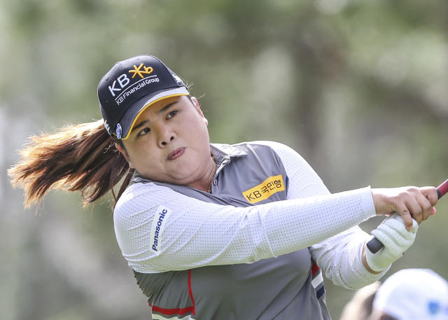 Inbee Park, of Korea, drives from the 2nd tee during during the final round of the Tournament of Champions LPGA golf tournament Sunday, Jan. 19, 2020, in Lake Buena Vista, Fla. (AP Photo/Gary McCullough)