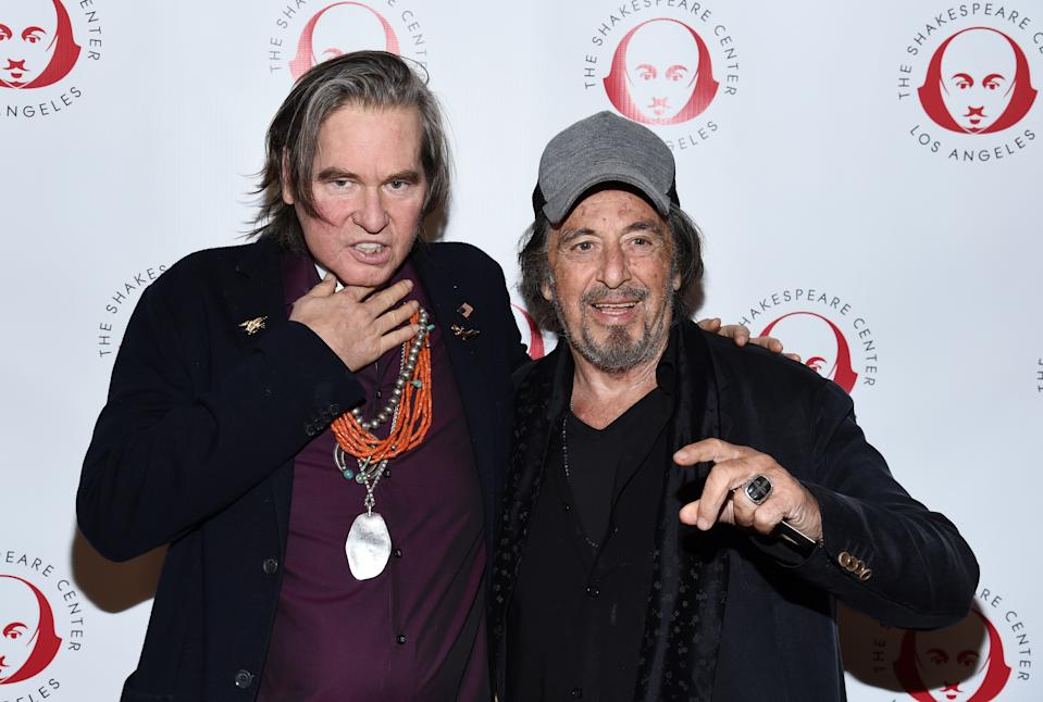 "LOS ANGELES, CALIFORNIA - OCTOBER 28: Val Kilmer (L) and Al Pacino attend the Simply Shakespeare's Live Read of ""The Merchant Of Venice"" at Walt Disney Concert Hall on October 28, 2019 in Los Angeles, California. (Photo by Amanda Edwards/Getty Images)"
