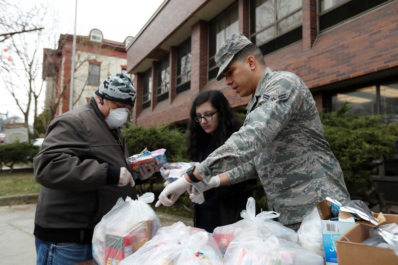 National Guard troops National guard troops help with Food distribution during the coronavirus outbreak in New Rochelle