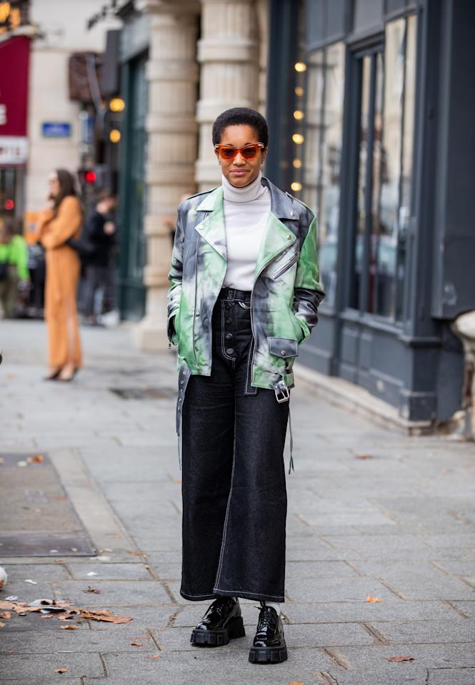 "Black jeans are the great for toning down louder statement pieces, like <a href=""https://www.glamour.com/gallery/tie-dye-spring-trend?mbid=synd_yahoo_rss"">tie-dye anything</a>. Wear them with a fully printed jacket or coat this fall."