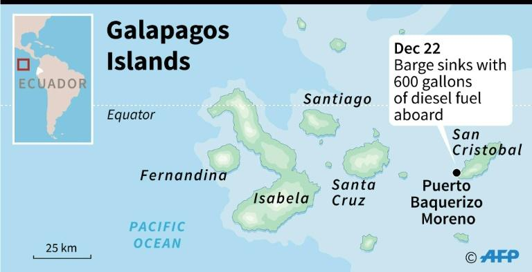 Map of the Galapagos islands locating a fuel spill on December 22, 2019