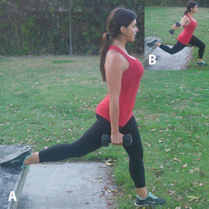 <p><strong>A</strong> Stand on left foot approximately 3 feet in front of a bench with top of right foot on the bench. Hold a 10- to 15-pound dumbbell in each hand by sides, palms facing in.</p> <p><strong>B</strong> Slowly bend left leg into a lunge, keeping left heel on the ground and left knee in line with the second toe of left foot. Leaning forward just slightly, raise right arm out to side until elbow is in line with right shoulder. Slowly lower arm and press leg back up to starting position, keeping core engaged. Do 12 to 15 reps; repeat on opposite side.</p>