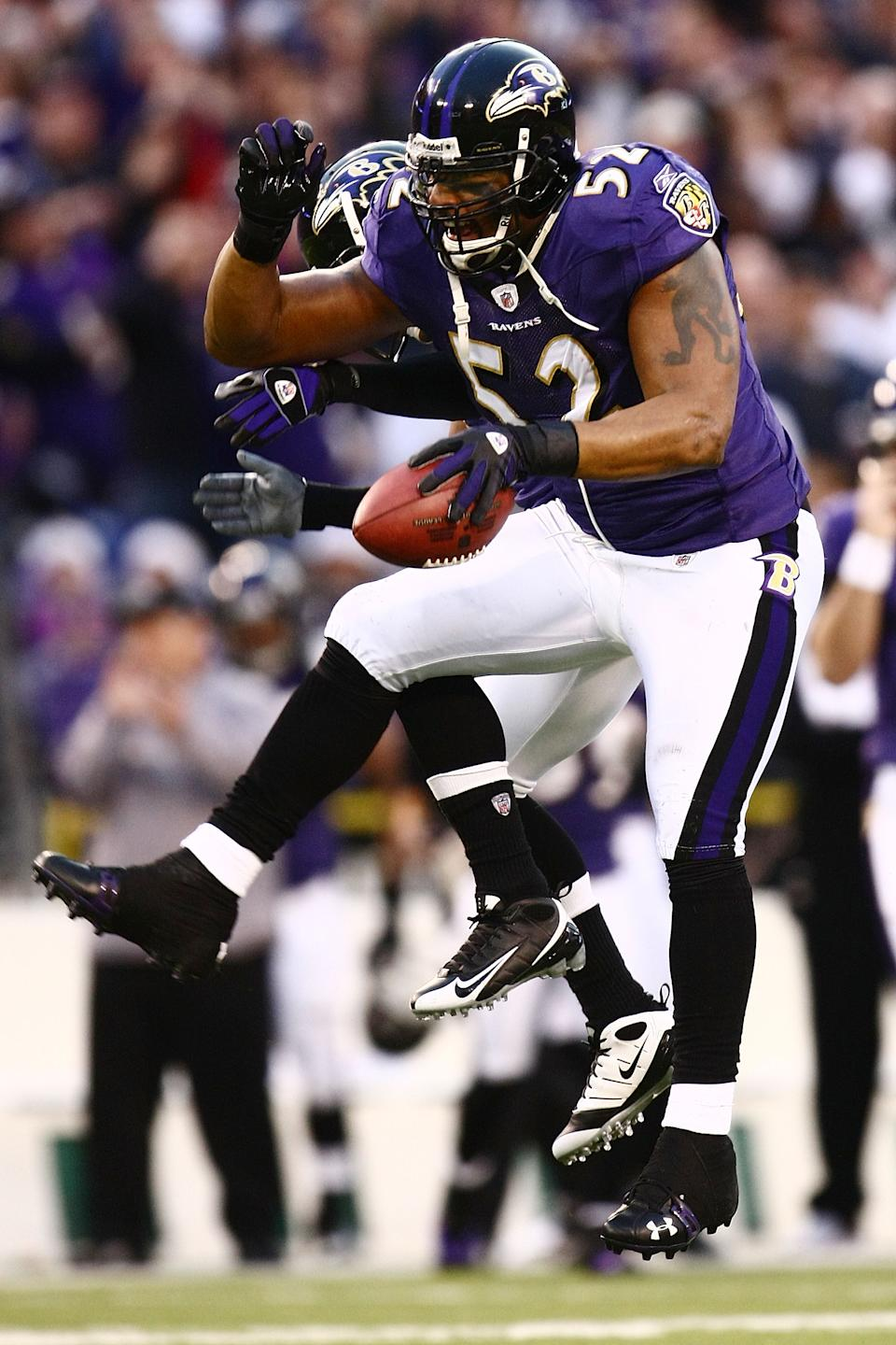 BALTIMORE - DECEMBER 28: Ray Lewis #52 of the Baltimore Ravens celebrates recovering the ball against the Jacksonville Jaguars during the game on December 28, 2008 at M&T Bank Stadium in Baltimore, Maryland. (Photo by Chris McGrath/Getty Images)