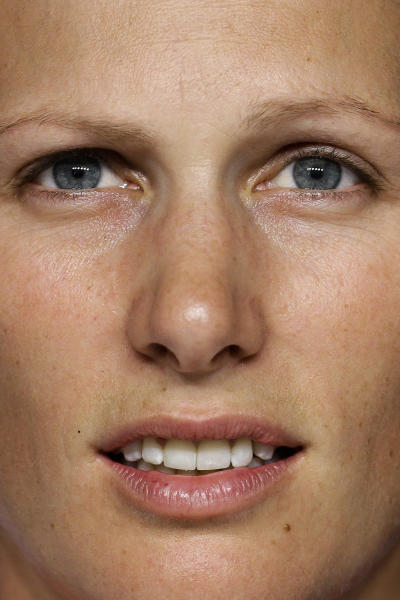 Zara Phillips of Great Britain attends a news conference with the British equestrian eventing team at Greenwich Park, the site for the equestrian and modern pentathlon events at the 2012 Summer Olympics, Thursday, July 26, 2012, in London. (AP Photo/Markus Schreiber)