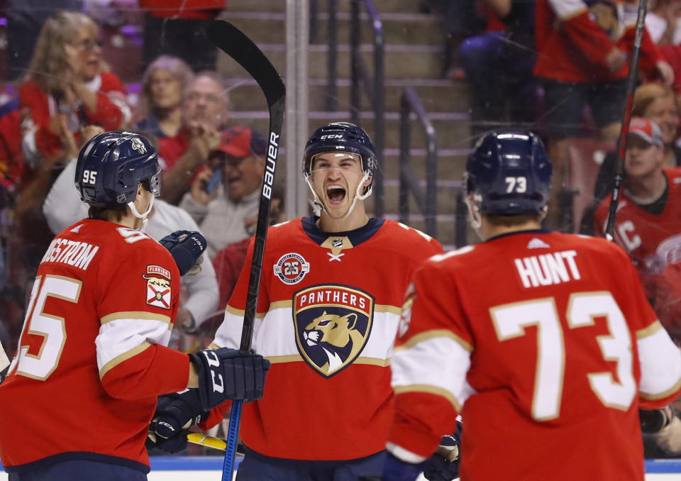Florida Panthers defenseman Josh Brown center, celebrates his first NHL goal with left wing Dryden Hunt (73) and center Henrik Borgstrom (95) during the first period of an NHL hockey game against the Detroit Red Wings, Sunday, March 10, 2019 in Sunrise, Fla. (AP Photo/Wilfredo Lee)