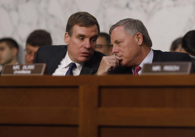 <p>Senate Intelligence Committee ranking member Mark Warner (L) talks with Chairman Richard Burr during former FBI Director James Comey's appearance before a Senate Intelligence Committee hearing on Russia's alleged interference in the 2016 U.S. presidential election on Capitol Hill in Washington, June 8, 2017. (Photo: Aaron P. Bernstein/Reuters) </p>
