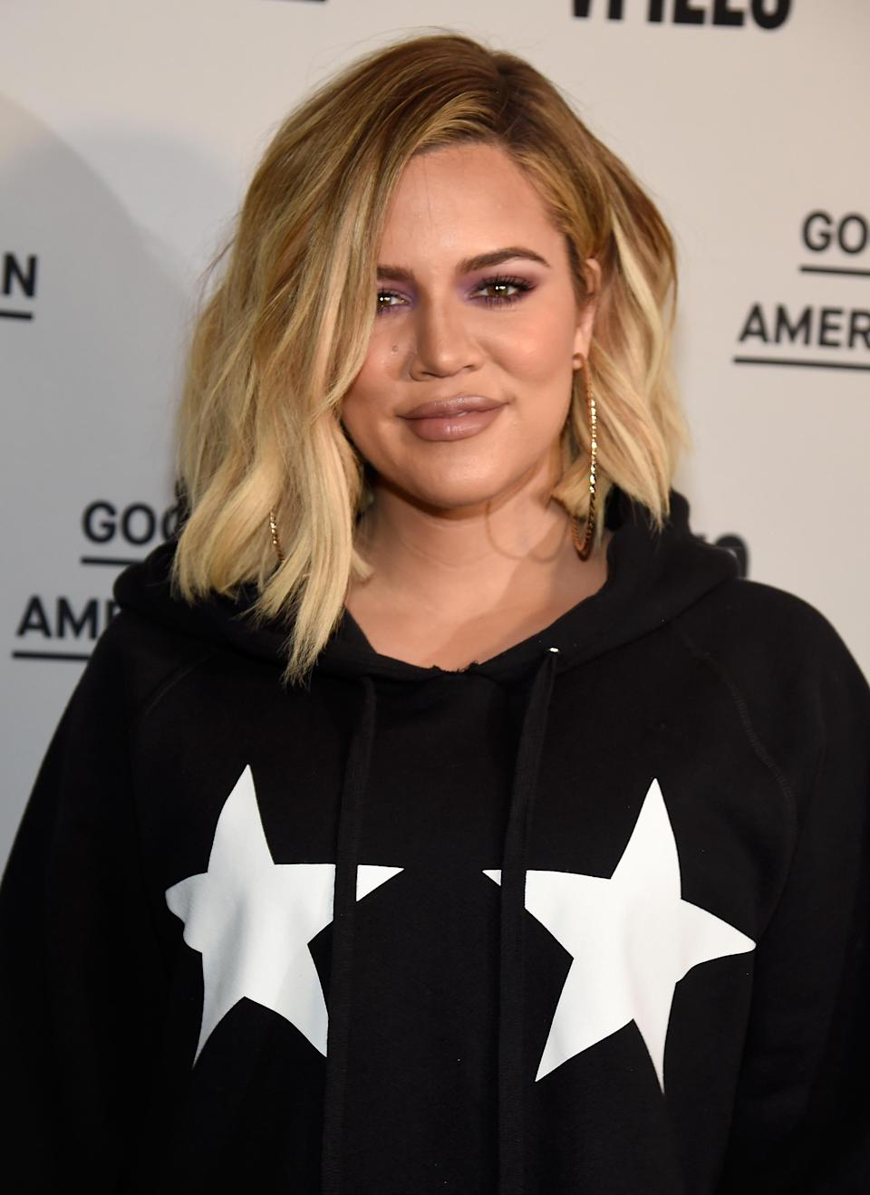 """After giving birth to daughter True, Khloé Kardashian says she is feeling """"discouraged"""" about her weight loss. (Photo: Kevin Mazur/Getty Images for Good American)."""