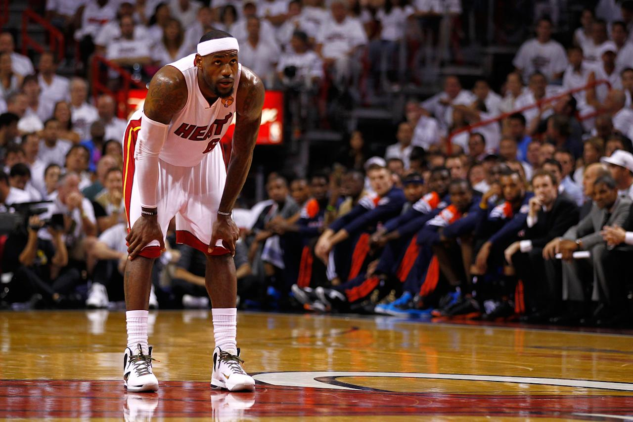 MIAMI, FL - JUNE 17:  LeBron James #6 of the Miami Heat looks on in the first half against the Oklahoma City Thunder  against the Oklahoma City Thunder in Game Three of the 2012 NBA Finals on June 17, 2012 at American Airlines Arena in Miami, Florida.  NOTE TO USER: User expressly acknowledges and agrees that, by downloading and or using this photograph, User is consenting to the terms and conditions of the Getty Images License Agreement.  (Photo by Mike Ehrmann/Getty Images)