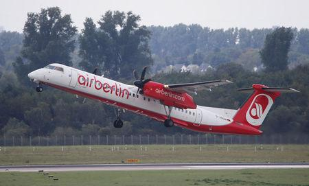 A Bombardier Dash 8 Q400 aircraft of German carrier AirBerlin takes off towards Stuttgart, Germany, from Duesseldorf airport, Germany, September 12, 2017.    REUTERS/Wolfgang Rattay