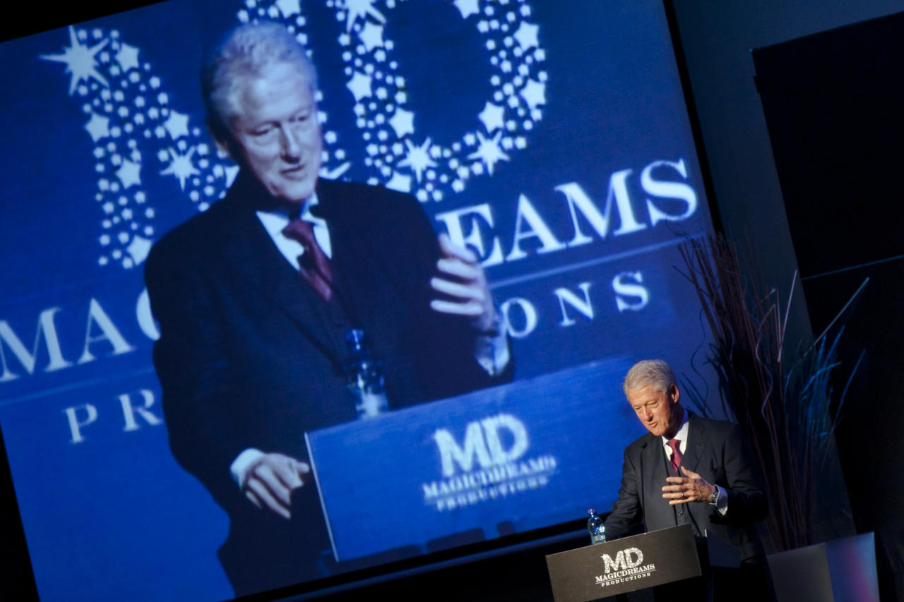 "Former U.S. president Bill Clinton delivers a speech during a conference entitled ""Embracing our Humanity"" in Panama City, Saturday, June 4, 2011. Clinton is on a one-day visit to Panama."