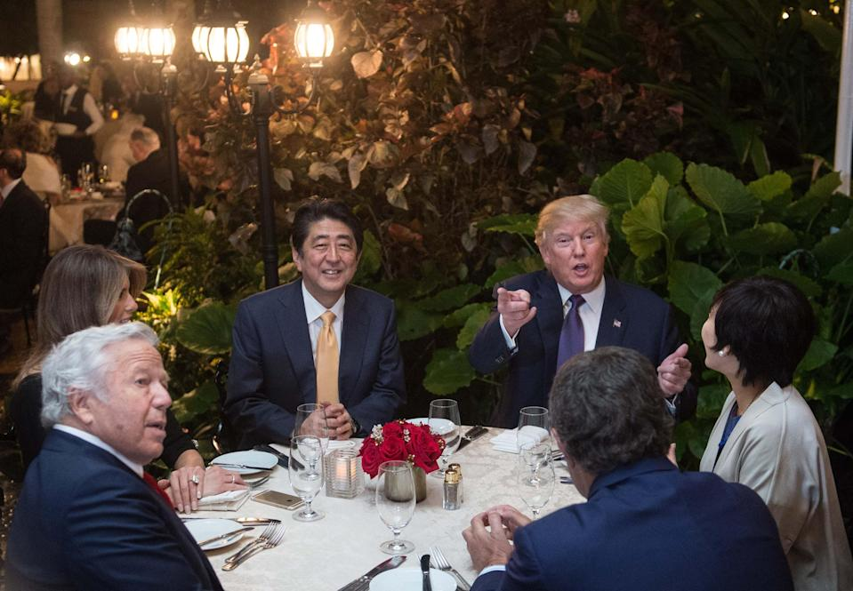 Image: Donald Trump and Shinzo Abe at Mar-a-Lago (Nicholas Kamm / AFP - Getty Images file)