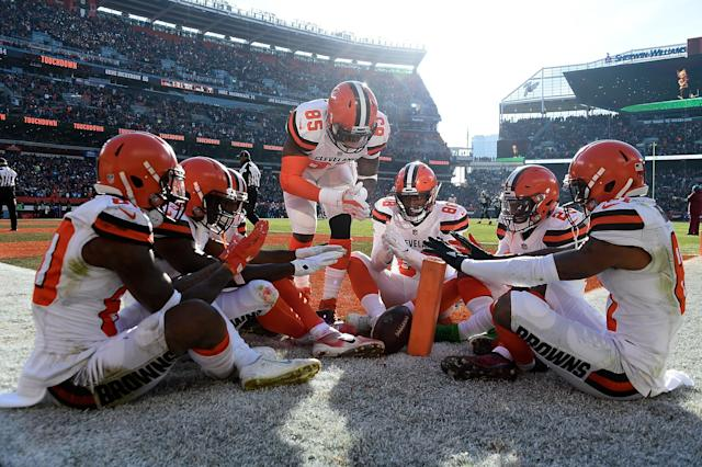 <p>Jarvis Landry #80 of the Cleveland Browns celebrates his touchdown with teammates during the second quarter against the Carolina Panthers during the second quarter at FirstEnergy Stadium on December 9, 2018 in Cleveland, Ohio. (Photo by Jason Miller/Getty Images) </p>