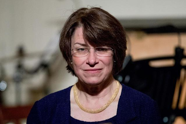 Sen. Amy Klobuchar, D-Minn., arrives for a reception at the White House in March. (Photo:Andrew Harnik/AP)