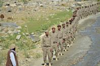 Men are seen undergoing military training in Afghanistan's Panjshir province, which remains undefeated by the Taliban, on August 21, 2021