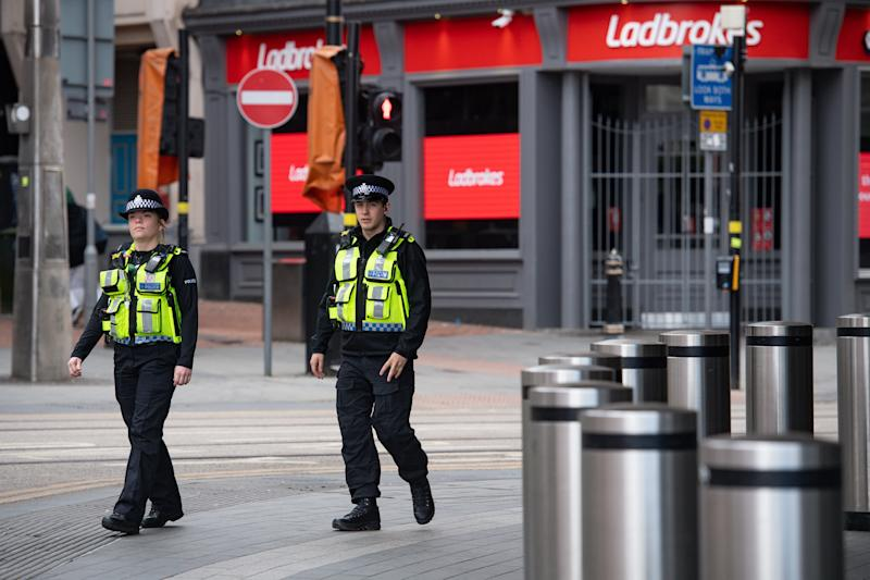 Increased transport police and security personnel at New Street station in Birmingham, as train services increase as part of the easing of coronavirus lockdown restrictions. (Photo by Jacob King/PA Images via Getty Images)